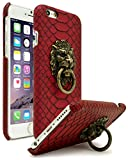 iPhone 6 Case, Bastex Ultra Slim Fit Protective Vintage Rock Lion Head Door Knocker, with Red Gator Skin textured PU Leather Fashion Hard Back Cover for Apple iPhone 6s 4.7'