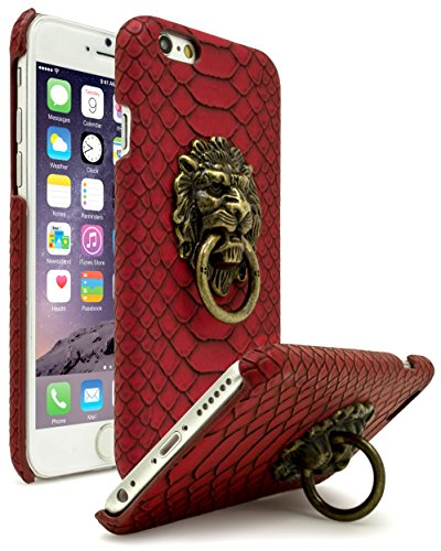 iPhone 6 Case, Bastex Ultra Slim Fit Protective Vintage Rock Lion Head Door Knocker, with Red Gator Skin textured PU Leather Fashion Hard Back Cover for Apple iPhone 6s 4.7