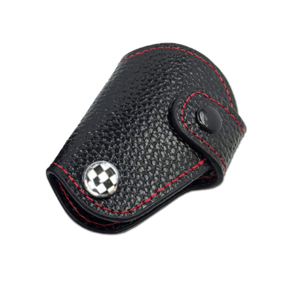 Red//Blue Union Jack UK Flag Red Stitch Real Leather Remote Key Fob Bag Cover Case Holder for 2008-up Mini Cooper R55 R56 R57 R58 R59 R60 R61 F54 F55 F56 F60