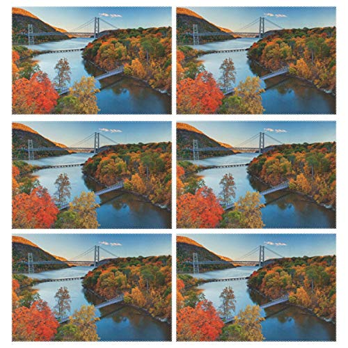 Cocoa trade Heat Resistant Placemats for Kitchen Table Mats Dining Room,Hudson River Valley Autumn Washable Insulation Non Slip Placemat 12x18 inch(6 pcs)