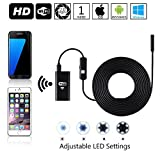 Indigi Flexible Waterproof Endoscope Borescope Wireless WiFi Inspection Snake Camera for iPhone & Android - Adjustable LEDs - 1Meter