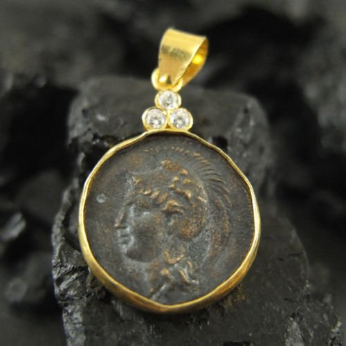 Ancient Design Handmade Roman Coin Pendant 22K Yellow Gold over 925K Sterling Silve ()