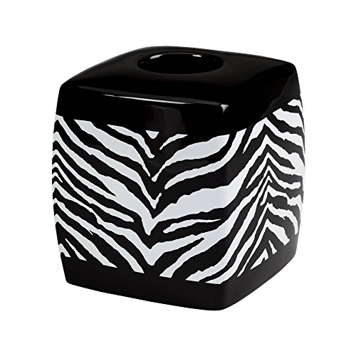 Tissue Box Safari Cover (Creative Bath Products, Inc. Zebra Print Bathroom Set Zebra Print Tissue Box Cover)