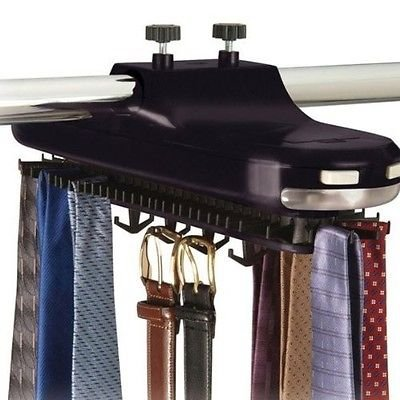 Rotating Revolving Tie Rack Organizer Closet Organizer Belt Scarf Neck Lighted from kwanchan