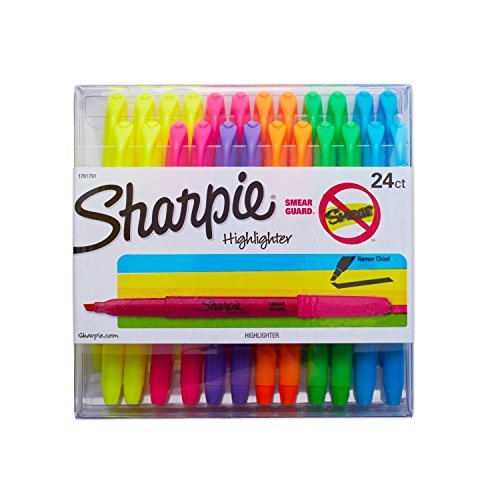 Sharpie 1761791 Accent Pocket Highlighters, Chisel Tip, Assorted Colored, 24-Count
