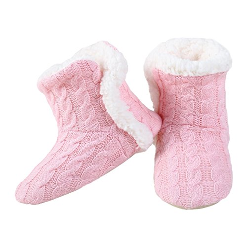 Yelete Womens Cable Knit Slippers House Booties Socks Soft Sherpa Lining Rubber Soles (House Sherpa)