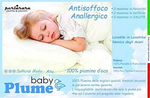 PERLARARA - Le nouveau oreiller super doux berceau oreiller Baby Plume berceau en coton et duvet 100 % plumes d'oie antiallergique 40 x 60 cm lavable