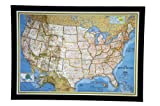 GIANT BEST SELLING push pin map of the United States Nat Geo's Classic US Map FRAMED 74 3/4 x 53 1/2'' Pin Board MAP with Black Satin Finish Frame is the best push pin travel map for home or office
