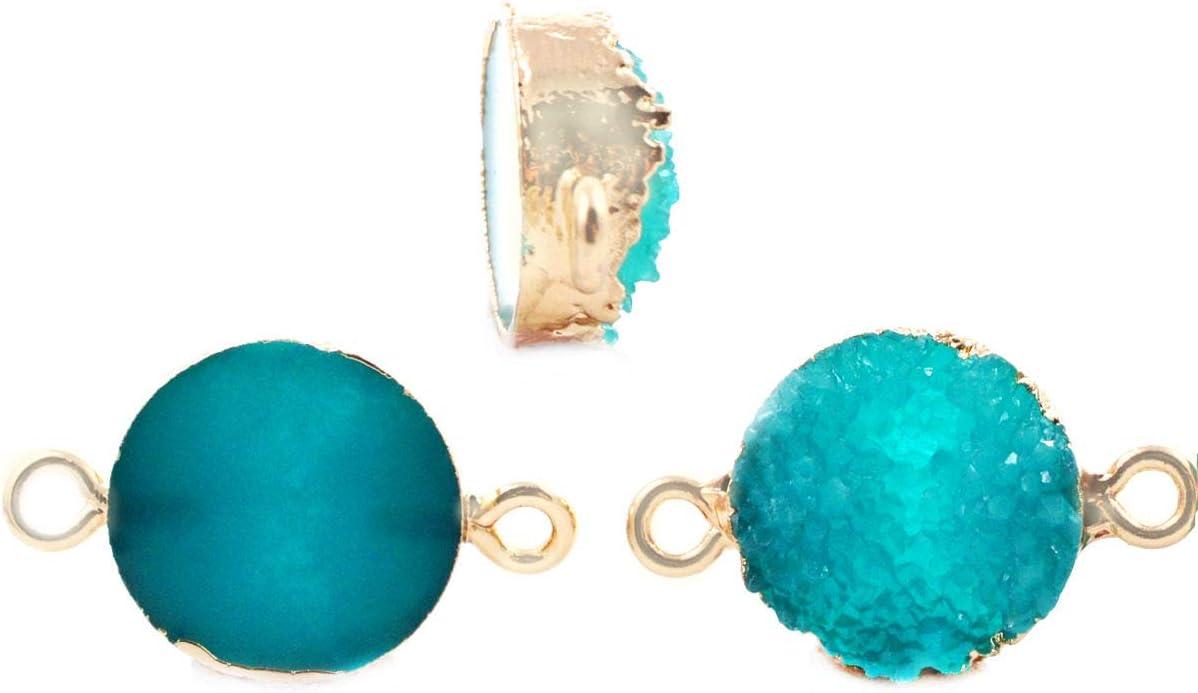2pcs Oscuro Azul Turquesa Druzy piedra PRECIOSA de Imitación de Piedra de la Resina de Conectores bañados en Oro Pulsera Colgante de Metal Resultados de 13,5 mm x 23 mm