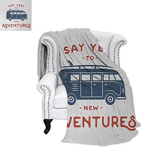 - Lightweight Blanket New Adventures Typography with Little Van Hippie Lifestyle Free Spirit Print Custom Design Cozy Flannel Blanket 70