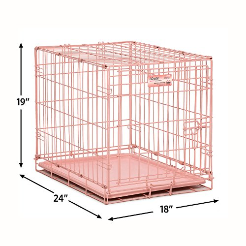 MidWest-iCrate-24-Pink-Folding-Metal-Dog-Crate-w-Divider-Panel-Floor-Protecting-Roller-Feet-Leak-Proof-Plastic-Tray-24L-x-18W-x-19H-Inches-Small-Dog-Breed