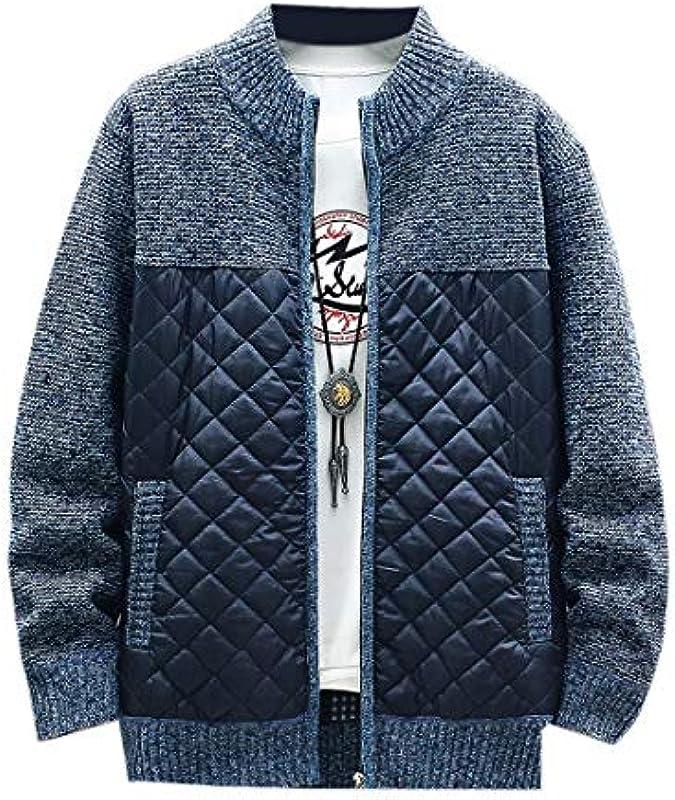 MU2M Men's Fashion Stand Collar Slim Knit Open Front Cardigan Coat: Odzież