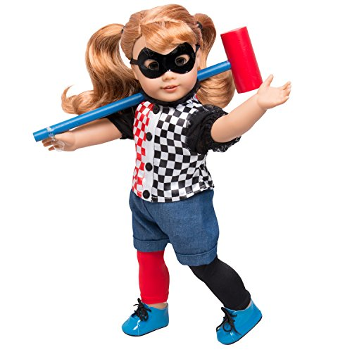 Harley Quinn DC Inspired Doll Outfit - 6pcs Superhero Costume for American Girl and 18 in. -