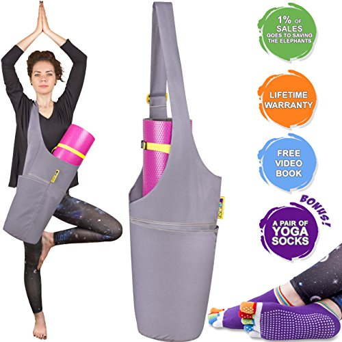 Jambala Yoga Mat Bag and Grip Socks Bundle – Large Yoga Bag with Pockets and Adjustable Shoulder Strap - Our Yoga Mat Carrier is the Perfect Yoga Mat Holder for You by Jambala