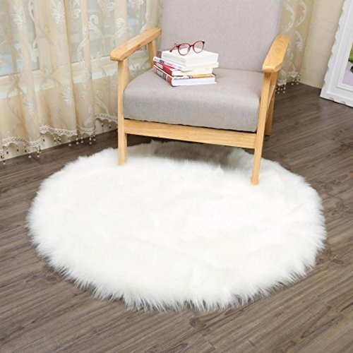 pskin Area Rug Mat Artificial Wool Chair Cover Soft Warm Room Carpet Shaggy Rug Round Area Rugs Seat Pad (Size: 30CMX 30CM, White) (Carpet Accent)