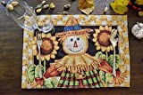 Tache Sunflower Field Scarecrow Thanksgiving Autumn Fall Harvest Country Farmhouse Vintage Black Gold Decorative Woven Tapestry Dining Table Kitchen Placemats, 13x19'