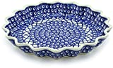 Polish Pottery 10½-inch Fluted Pie Dish (Lattice Peacock Theme) + Certificate of Authenticity