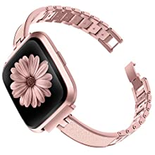 TOYOUTHS Stylish Bracelet Compatible with Fitbit Versa/Versa 2 Bands Women Slim Strap Replacement Wristbands for Versa Lite Special Edition Stainless Steel Metal+Leather Bangle Accessories Rose Gold