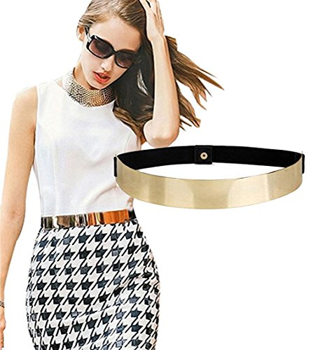 ALAIX Fashion Womens Gold Mirror Stretch Waist Dress Belt-Golden Mirror ()
