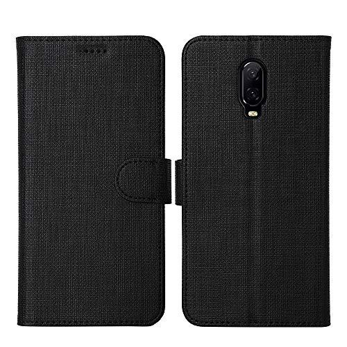 OnePlus 6T Case, Foluu OnePlus 6T Case Canvas Flip/Folio Soft TPU Cover Bumper Kickstand Ultra Slim Strong Magnetic Closure Cover OnePlus 6T (Black)