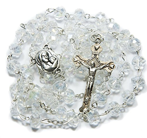 Glass Crystal CLEAR BEADS With SILVER PLATED ROSARY CROSS and HOLY LAND SOIL MARIA ICON (Crystal Glass Beaded Necklace)