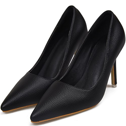 Pumps Heel Pattern High BIGTREE Pointed Toe Smooth Court Black Shoes Dress Shoes Women Litchi RTwq5B