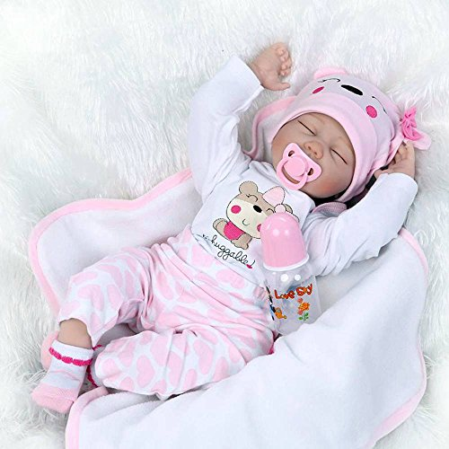 Realistic Sleeping Reborn Baby Doll Girl Lifelike Silicone Pink 22 Inches Reborn Baby Girl