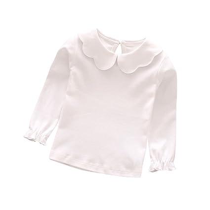 Blanc EnfantBébé Fille Tangbasi Col Shirt Longues Et ClaudinePour Cm Manches 70 T dBWQoerCx