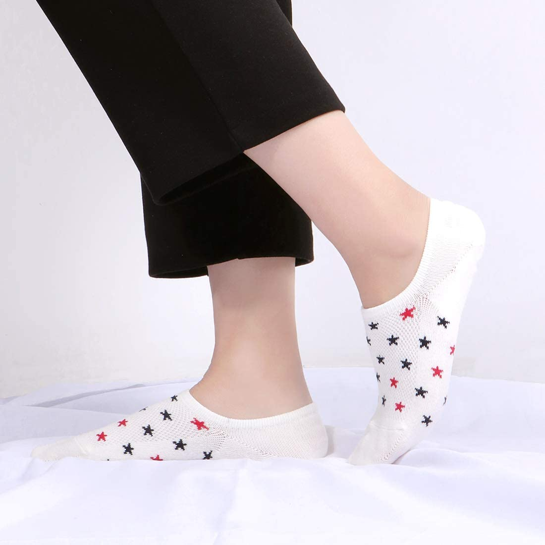 6 Pairs No Show Socks for Women Cotton Low Cut Liner Casual Non Slip Breathable Ladies Socks for Sneaker Loafers Trainer