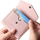 Borgasets Women's RFID Blocking Small Compact Bifold Leather Pocket Wallet Ladies Mini Purse Limited Edition Pink