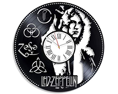 Kovides Vintage Vinyl Record Clock Led Zeppelin Gift Home Decor Wall Clock Modern Birthday Gift for Dad Led Zeppelin Clock Decor for Living Room Rock Band Wall Clock Minimalist Led Zeppelin Music Art