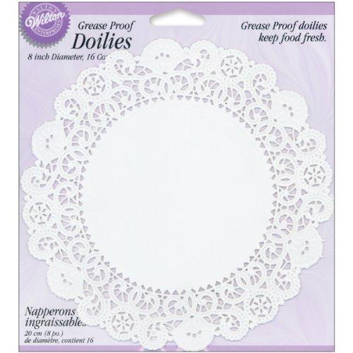 Grease-Proof Doilies-8 White Circle 16/Pkg Wilton