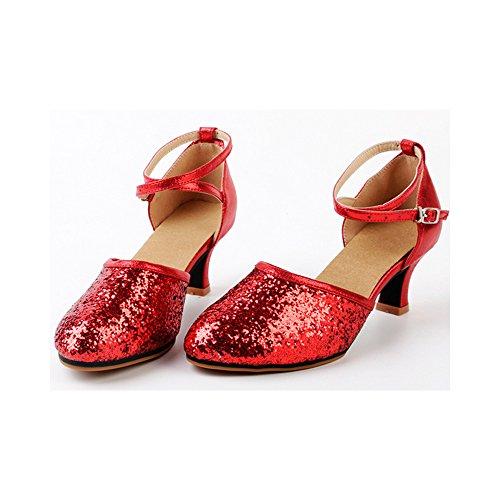Scarpe Da Donna Latino Ochenta In Pelle Con Lacci A Punta Ginocchiera Scarpe Da Ballo Latino (suola In Gomma) Rosso