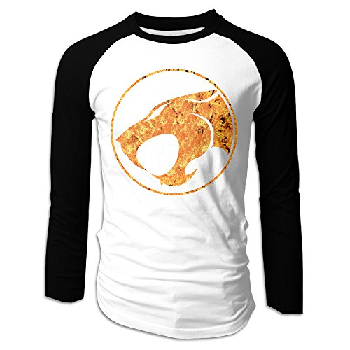 Creamfly Mens Thunder Cats Long Sleeve Raglan Baseball Tshirt M