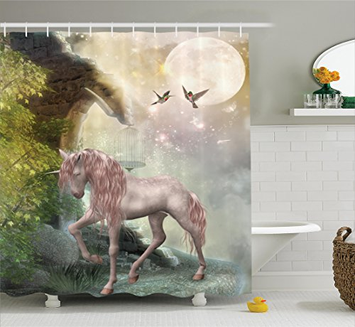 Ambesonne Hummingbirds Decorations Shower Curtain Set, Last Unicorn Golden Leaves Birds Twinkling Stars Moon Mystic Fantasy Fairytale, Bathroom Accessories, 75 Inches - Stars Bath Accessories