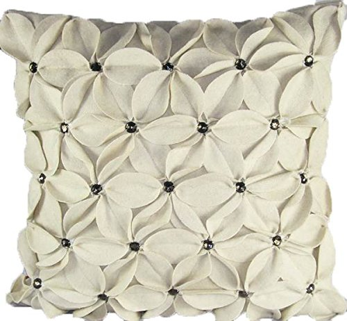 (Design Accents Ivory Poinsettia with Jewels Felt - 20 x 20 in. Pillow)