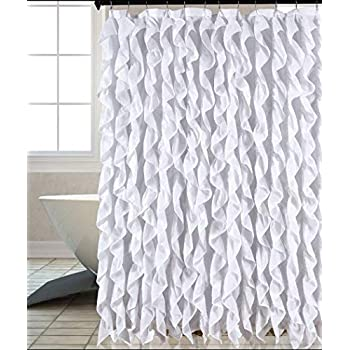 Waterfall Shabby Chic Ruffled Fabric Shower Curtain White