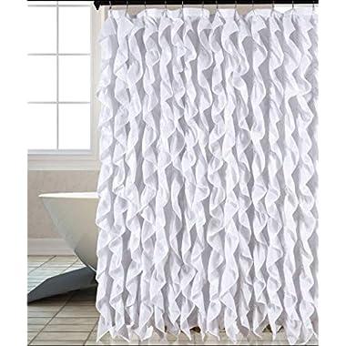 Waterfall Shabby Chic Ruffled Fabric Shower Curtain (white)