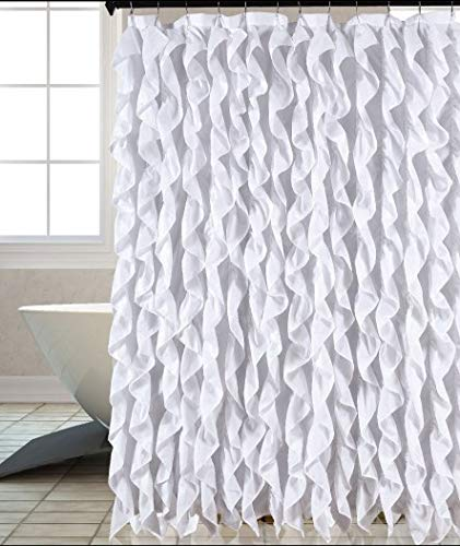 Image Unavailable Not Available For Color Waterfall Shabby Chic Ruffled Fabric Shower Curtain White