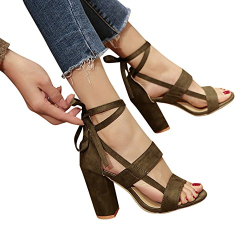 RTYou Fashion Classics Women Ladies Sandals Ankle High Heels Block Party Open Toe Shoes (US:6.5, Green)