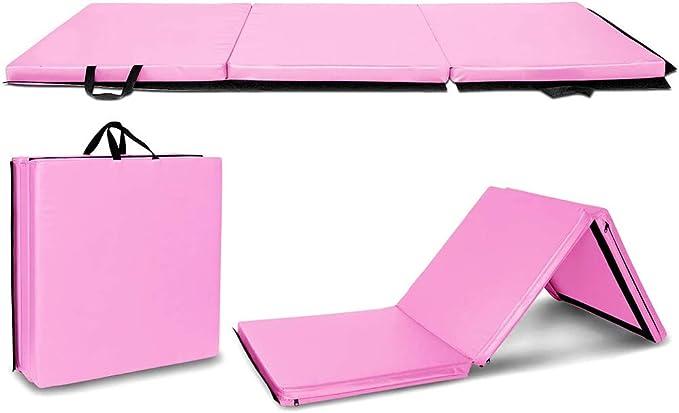6x 2x 2 esteras de cuero PU para estiramiento Yoga animadora artes marciales Lisaion 6 plegable Tri-fold Gymnastics Gym ejercicio aer/óbico
