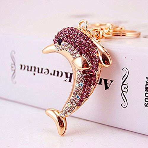 Axmerdal New Cute Dolphin Keychain Bag Charm Rhinestone Anmial Key Ring Cute Gift, Light Purple Light Purple