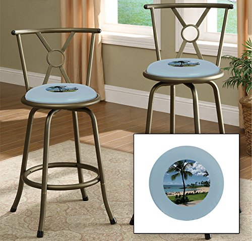 New Bronze Finish 24'' or 29'' Adjustable Seat Height Bar Stool Featuring Hawaii Beach Theme And Your Choice of Vinyl Seat Cushion Color! by The Furniture Cove