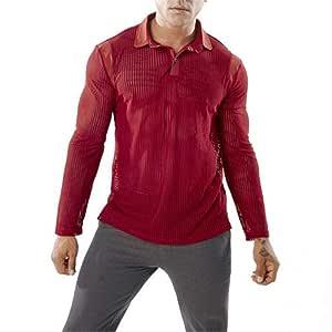 NUASH Nueva Camisa de Manga Larga de Malla Transparente para Hombres de Costura Moda Diseño de Solapa Delgado Escenario Club Nocturno Social Hombres Camisas L Rojo: Amazon.es: Deportes y aire libre
