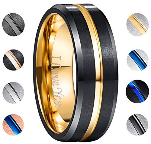 "NUNCAD Tungsten Carbide Ring Men Women Wedding Band Engagement Ring 8mm Comfort Fit Engraved "" I Love You ""Size 9.5"