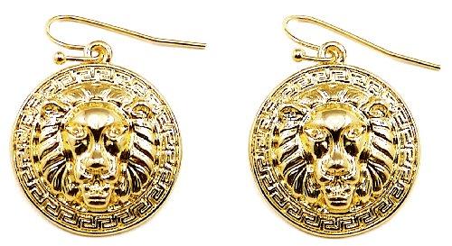 GWOOD Lion Medusa Gold Color Smaller Pendant Dangle Earrings ()