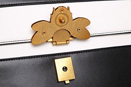Bolso decoración de de la diagonal manija superior de mujeres de correa la abeja de de Black Paquete la hombro Bolso la la manera las hombro de ancho de IqnE6