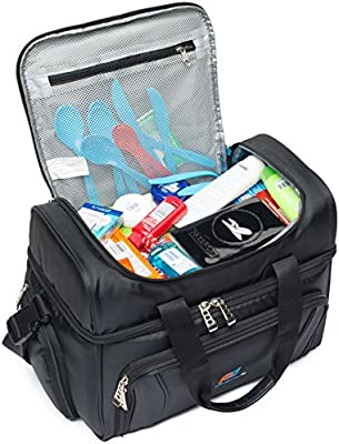 Strong Double Zipper Padded Straps Heavy Duty Fabric 2 Heat Sealed Soft Peva Liner Thick Insulation Two Insulated Compartment Many Pockets MOJECTO Large Cooler Bag for Men Women