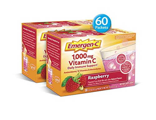 Emergen-C (60 Count, Raspberry Flavor, 2 Month Supply) Dietary Supplement Drink Mix With 1,000mg Vitamin C, 0.32 Ounce Packets, Caffeine Free