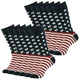 American Flag Socks, SUTTOS Men's Colorful Patriot Dress Socks Fashion Patterned Dress Socks Mid Calf Cotton Crew Dress Sock for Groomsmen Wedding Party Socks Gifts Men Back to School Team Socks,12 Pairs
